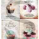 Vintage sorozat: Sütemények, Papír, Decoupage papír, A 4-s méretű rizsnyomat, vékony 20 gr-s rizspapíron, découpage technikához. Az eredeti nyomato..., Alkotók boltja