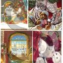 Karácsonyi sorozat: Karácsonyi cicák, Papír, Decoupage papír, A 4-s méretű rizsnyomat, vékony 20 gr-s rizspapíron, découpage technikához. Az eredeti nyomatot vízj..., Alkotók boltja