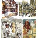 Karácsonyi sorozat: Karácsonyi város, Papír, Decoupage papír, Decoupage, szalvétatechnika, Decoupage minták, A 4-s méretű rizsnyomat, vékony 20 gr-s rizspapíron, découpage technikához. Az eredeti nyomatot víz..., Alkotók boltja