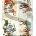 Karácsonyi sorozat: Vidám gyerekek, Papír, Decoupage papír, Decoupage, szalvétatechnika, Decoupage minták, A 4-s méretű rizsnyomat, vékony 20 gr-s rizspapíron, découpage technikához. Az eredeti nyomatot víz..., Alkotók boltja