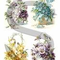 Tavaszi virágkosarak, Papír, Decoupage papír, A 4-s méretű rizsnyomat, vékony 20 gr-s rizspapíron, découpage technikához. Az eredeti nyomatot vízj..., Alkotók boltja