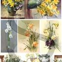 Virág sorozat: Nárciszok, Papír, Decoupage papír, A 4-s méretű rizsnyomat, vékony 20 gr-s rizspapíron, découpage technikához. Az eredeti nyomatot vízj..., Alkotók boltja