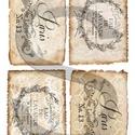 Vintage címkék 4., Papír, Decoupage papír, Decoupage, szalvétatechnika, Decoupage minták, A 4-s méretű rizsnyomat, vékony 20 gr-s rizspapíron, découpage technikához. Az eredeti nyomatot víz..., Alkotók boltja