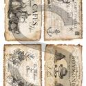 Vintage címkék 6., Papír, Decoupage papír, A 4-s méretű rizsnyomat, vékony 20 gr-s rizspapíron, découpage technikához. Az eredeti nyomatot vízj..., Alkotók boltja