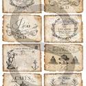 Vintage címkék 7., Papír, Decoupage papír, A 4-s méretű rizsnyomat, vékony 20 gr-s rizspapíron, découpage technikához. Az eredeti nyomatot vízj..., Alkotók boltja