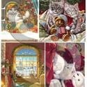 Karácsonyi sorozat: Karácsonyi cicák, Papír, Decoupage papír, Decoupage, szalvétatechnika, Decoupage minták, A 4-s méretű rizsnyomat, vékony 20 gr-s rizspapíron, découpage technikához. Az eredeti nyomatot víz..., Alkotók boltja