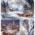 Karácsonyi sorozat: Karácsonyi lovasszán, Papír, Decoupage papír, A 4-s méretű rizsnyomat, vékony 20 gr-s rizspapíron, découpage technikához. Az eredeti nyomato..., Alkotók boltja