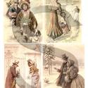 Karácsonyi sorozat: Karácsonyi séta, Papír, Decoupage papír, A 4-s méretű rizsnyomat, vékony 20 gr-s rizspapíron, découpage technikához. Az eredeti nyomato..., Alkotók boltja