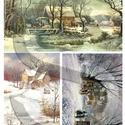 Karácsonyi sorozat: Téli tájképek, Papír, Decoupage papír, A 4-s méretű rizsnyomat, vékony 20 gr-s rizspapíron, découpage technikához. Az eredeti nyomato..., Alkotók boltja