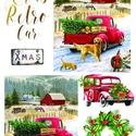Karácsonyi sorozat: Karácsonyi piros autó, Papír, Decoupage papír, A 4-s méretű rizsnyomat, vékony 20 gr-s rizspapíron, découpage technikához. Az eredeti nyomatot vízj..., Alkotók boltja