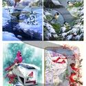 Karácsonyi sorozat : Téli tájkép állatokkal, Papír, Decoupage papír, A 4-s méretű rizsnyomat, vékony 20 gr-s rizspapíron, découpage technikához. Az eredeti nyomato..., Alkotók boltja