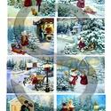 Karácsonyi sorozat: Piros ruhás kislány karácsonyi kalandjai 1., Papír, Decoupage papír, Decoupage, szalvétatechnika, Decoupage minták, A 4-s méretű rizsnyomat, vékony 20 gr-s rizspapíron, découpage technikához. Az eredeti nyomatot víz..., Alkotók boltja
