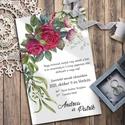 Esküvői meghívó klasszikus vörös rózsa grafikával, Esküvő, Otthon & lakás, Meghívó, ültetőkártya, köszönőajándék, Naptár, képeslap, album, Képeslap, levélpapír, Fotó, grafika, rajz, illusztráció, A legklasszikusabb virág, amellyel egy férfi kifejezheti érzéseit egy nő iránt: a vörös rózsa. Ebbe..., Meska