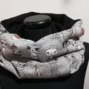 Szürke-fekete cicás kámzsa, körsál, sapkasál, Táska, Divat & Szépség, Ruha, divat, Sál, sapka, kesztyű, Sál, Varrás, Belül fekete pihe-puha polár, kívül szürke alapon rajzolt vicces cicusok.  Jó melegen tartja a nyak..., Meska