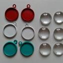 Fém alap + üveglencse (12mm), Gyöngy, ékszerkellék, Cabochon, Ékszerkészítés, A csomag tartalmaz:  6 db színes fém alap (piros, fehér, türkizzöd) 6 db hozzá illő 12mm-es üveglen..., Alkotók boltja