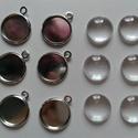 Fém alap + üveglencse (12mm), Gyöngy, ékszerkellék, Cabochon, A csomag tartalma:  6 db rhodium színű fém alap 6 db hozzá illő 12mm-es üveglencse, Alkotók boltja