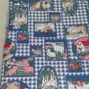 Farm mintás vászon, Textil, Vászon, Farmon élő állatokkal teli pamut vászon. 150 cm széles az anyag és 1 m hosszú. , Alkotók boltja